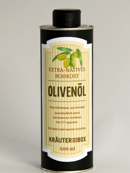 Extra-Natives Rohkost-Olivenöl 500 ml in Kräuterbox-Flasche